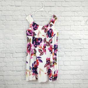 London Times   Floral & White Tea Dress
